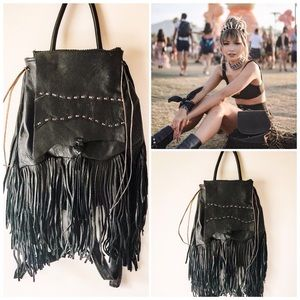 Handbags - NWT🌵Black Leather Fringe Boho Backpack
